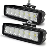 Safego 18W LED Flood Work Light Bar OffRoad Car 4X4 Fog Driving Lamp for Truck Tractor Jeep 12V 24V 60 Degree L18W-FL Pack of 2