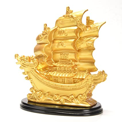 JSY Sailing Ship Statue Feng Shui Decor For Fortune Wealth And Prosperity