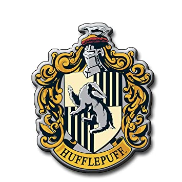 """HARRY POTTER HUFFLEPUFF CREST WHITE 7.5/"""" PERSONALISED EDIBLE ICING CAKE TOPPER"""