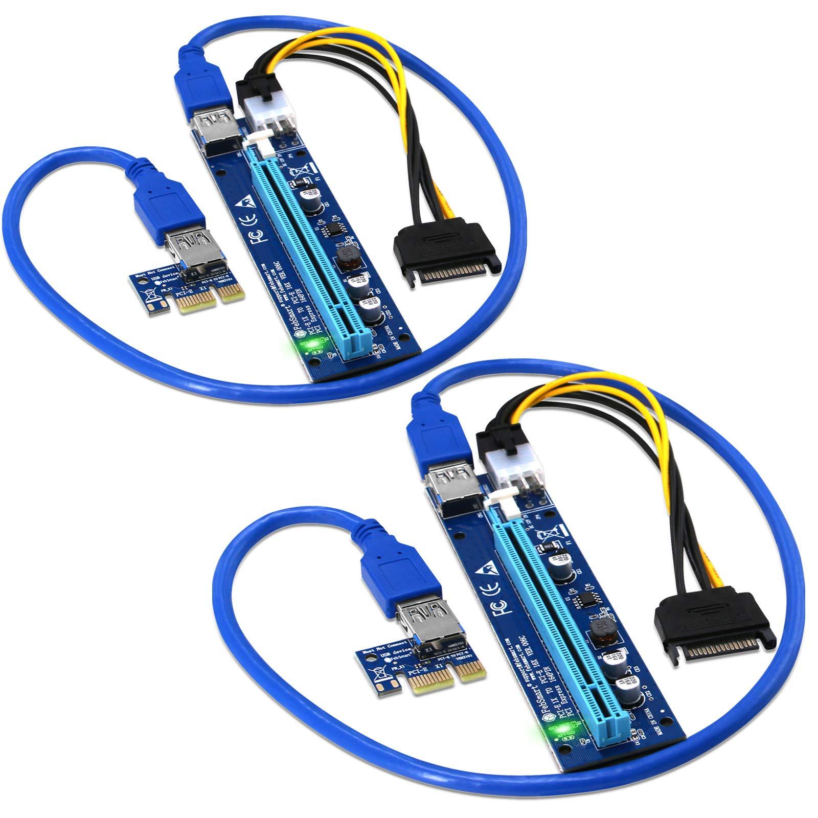 2 Pci-e Riser VER 006C Cripto mineria  FebSmart Azul