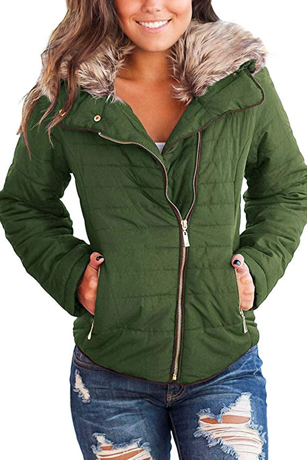 42be7bf79 HSRKB Women's Faux Fur Jackets Winter Coats Quilted Down Jacket with Zipper