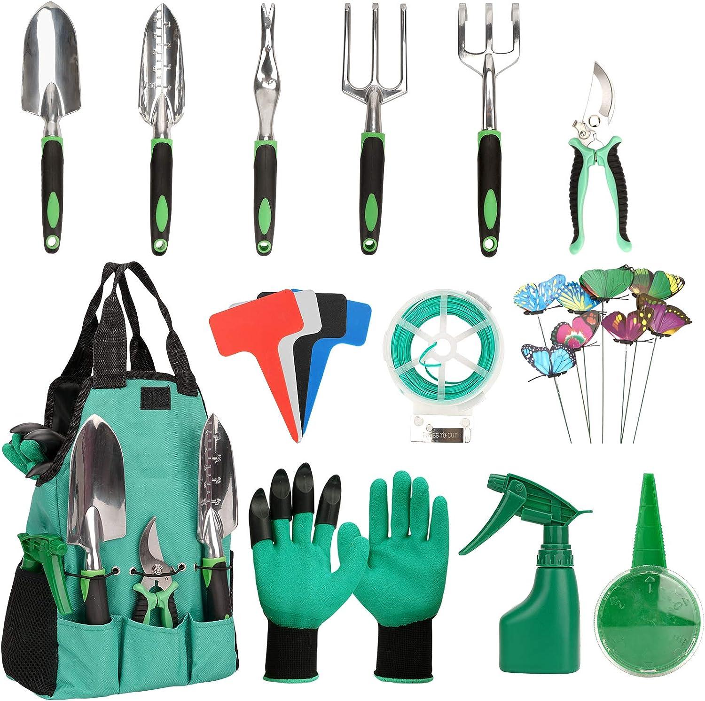 mingto Garden Tools Set 30pcs,Heavy Duty Gardening Tools,Hand Garden Tools Set, Aluminum Multipurpose Tools with Garden Gloves and Garden Tote,A Gift for The Gardener