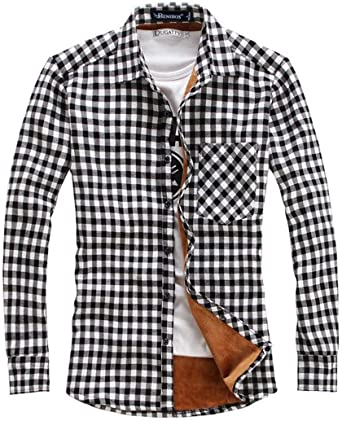 Nanquan Men Casual Slim Fit Button Down Plaid Long Sleeve with Pocket Shirt