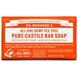 Dr. Bronner's - Pure-Castile Bar Soap (Tea Tree, 5 ounce) - Made with Organic Oils, For Face, Body, Hair and Dandruff…