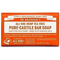 Dr. Bronner's Organic Bar Soap Tea Tree at Least 70% Organic, 5 Ounce