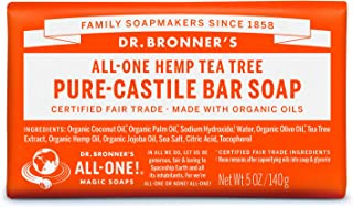 product image for Dr. Bronner's - Pure-Castile Bar Soap (Tea Tree, 5 ounce) - Made with Organic Oils, For Face, Body, Hair and Dandruff, Gentle on Acne-Prone Skin, Biodegradable, Vegan, Non-GMO