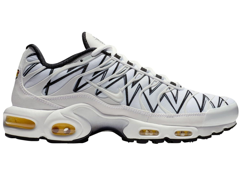 NIKE Men's Air Max Plus WhiteWhiteBlack Nylon Running Shoes 10 D(M) US