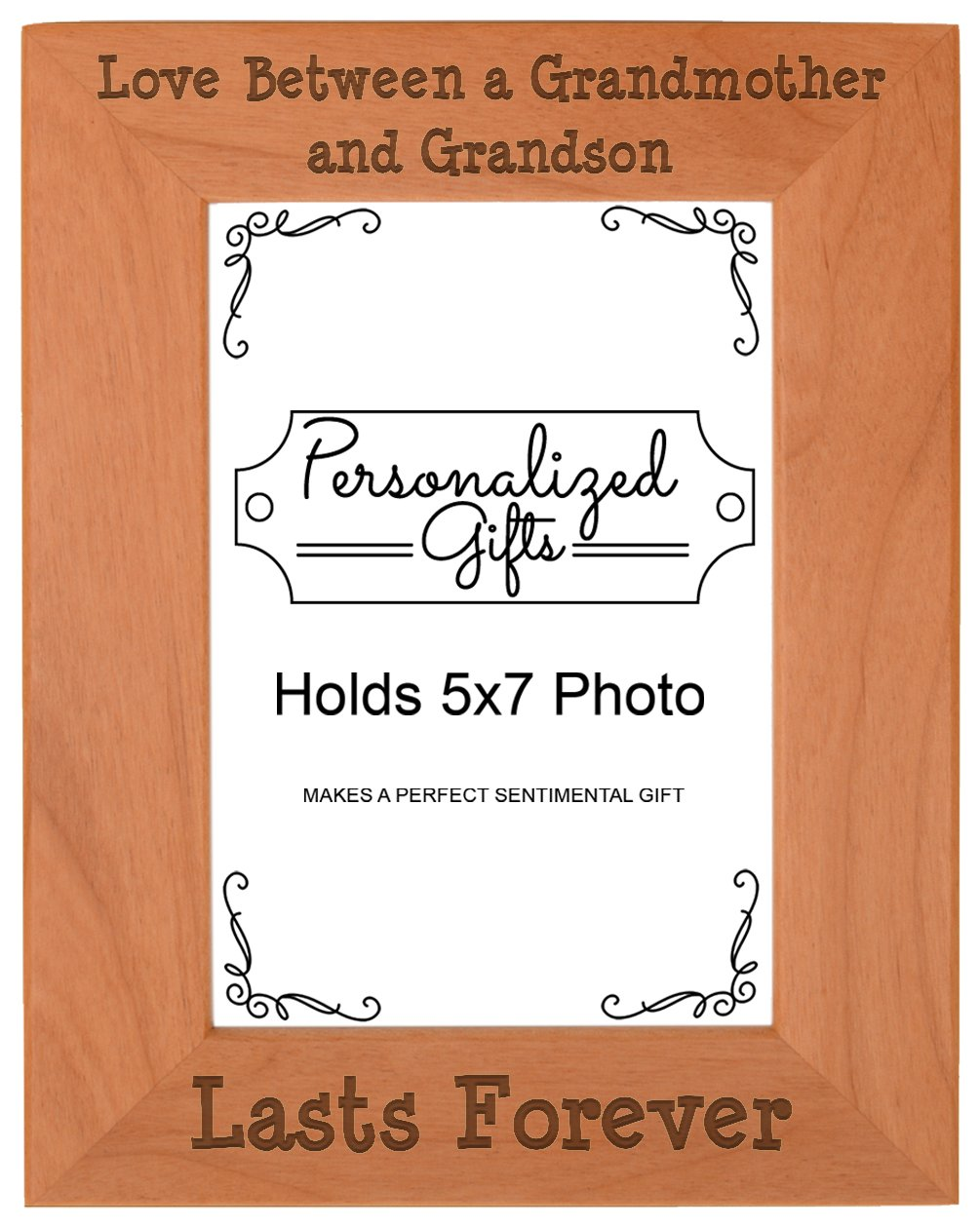 First Time Grandma Gifts Love Between a Grandmother Grandson Lasts Forever Birthday Gifts Grandma Natural Wood Engraved 5x7 Portrait Picture Frame Wood