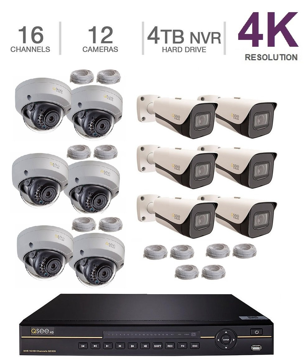 Q-See 4K 8MP 6 Bullet, 6 Dome 16-Channel NVR Ultra HD QC IP Series Surveillance with H.265 and 4TB HDD (QC826-4 +6X QCN8093B +6X QCN8096D) by Q-See