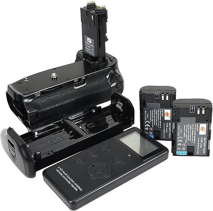 DSTE® Pro Batería Apretón Built in 2.4G Wireless Remote Control Compatible con Canon EOS 6D Mark II as BG-E21 + 2X ...