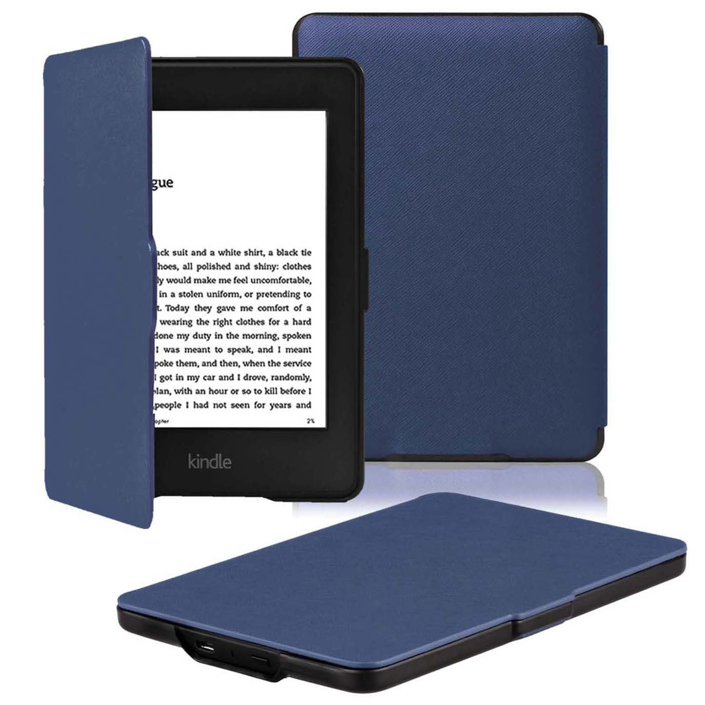 OMOTON Kindle Paperwhite Case Cover - PU Leather Smart Cover for All-New Kindle Paperwhite (Fits All versions: 2012, 2013, 2014 and 2015 All-new 300 PPI Version), Navy Blue by OMOTON