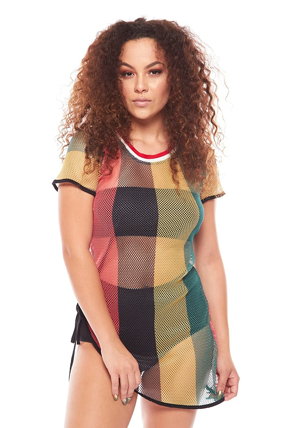 Womens Rasta Jamaica Fishnet Mesh Side Ribbon Cover Up Top TK2429