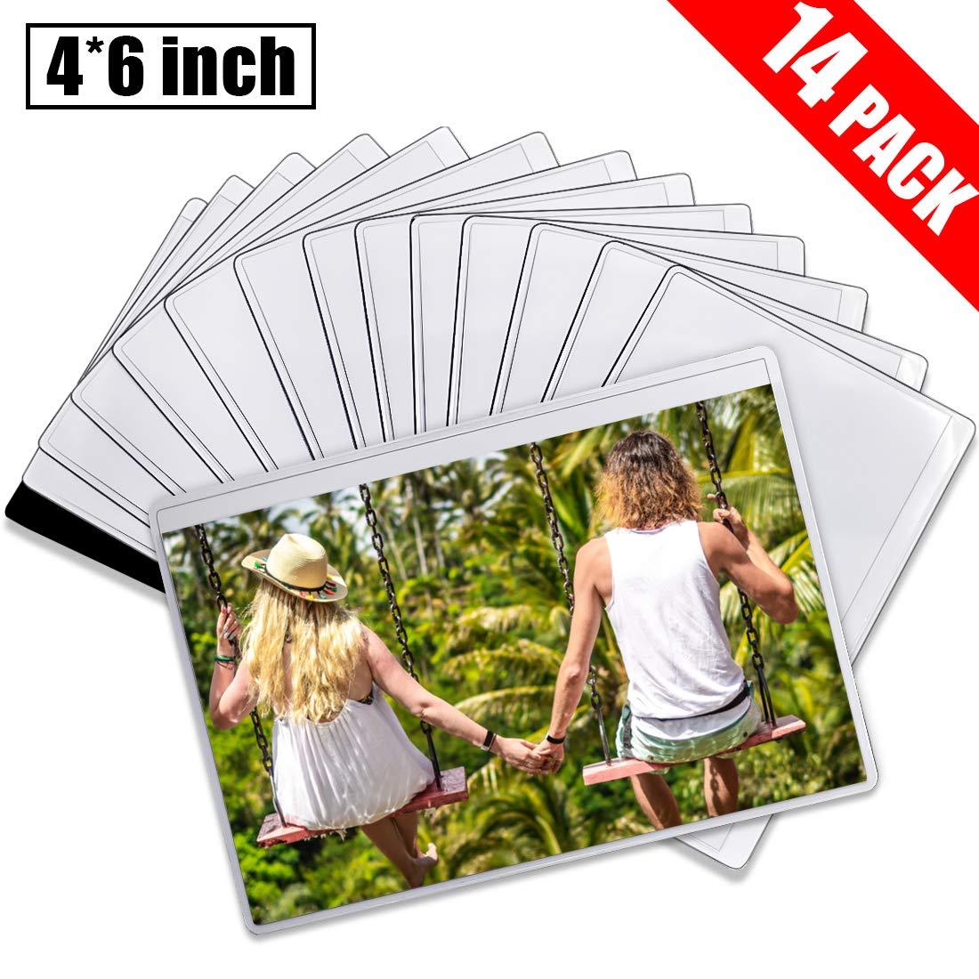 DIYSELF 14 Pack Magnetic Picture Frames for Refrigerator 4x6 Picture Frame, Refrigerator Magnets, Fridge Magnets, Magnetic Photo Pocket