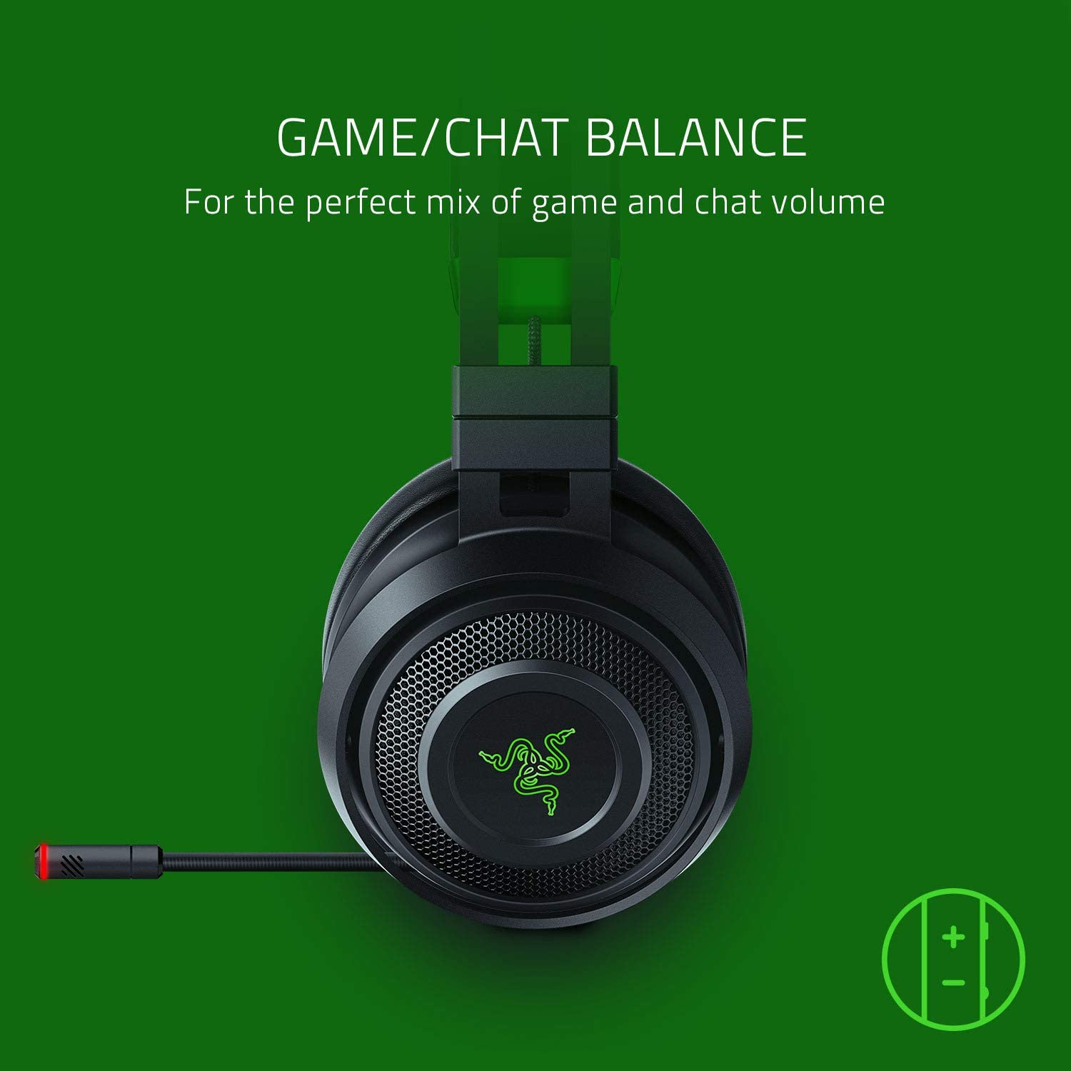 For PC Chroma RGB Razer Nari Ultimate Wireless 7.1 Surround Sound Gaming Headset: THX Audio /& Haptic Feedback Auto-Adjust Headband Retractable Mic Classic Black PS4