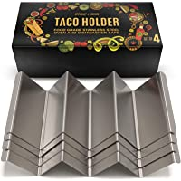 B&S Taco Holders Stainless Steel Set of 4 - Taco Stand Rack Holds Up to 3 Tacos Each - Oven, Grill, Dishwasher Safe - 4…