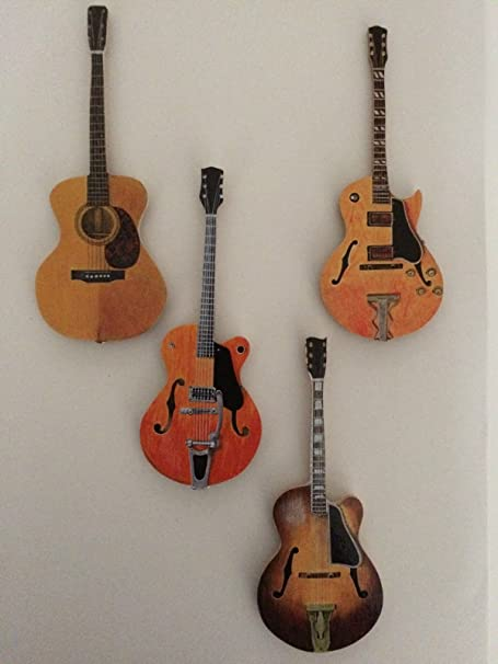 Set de 4 imanes de nevera guitarra. Martin acoustic-gretsch ...