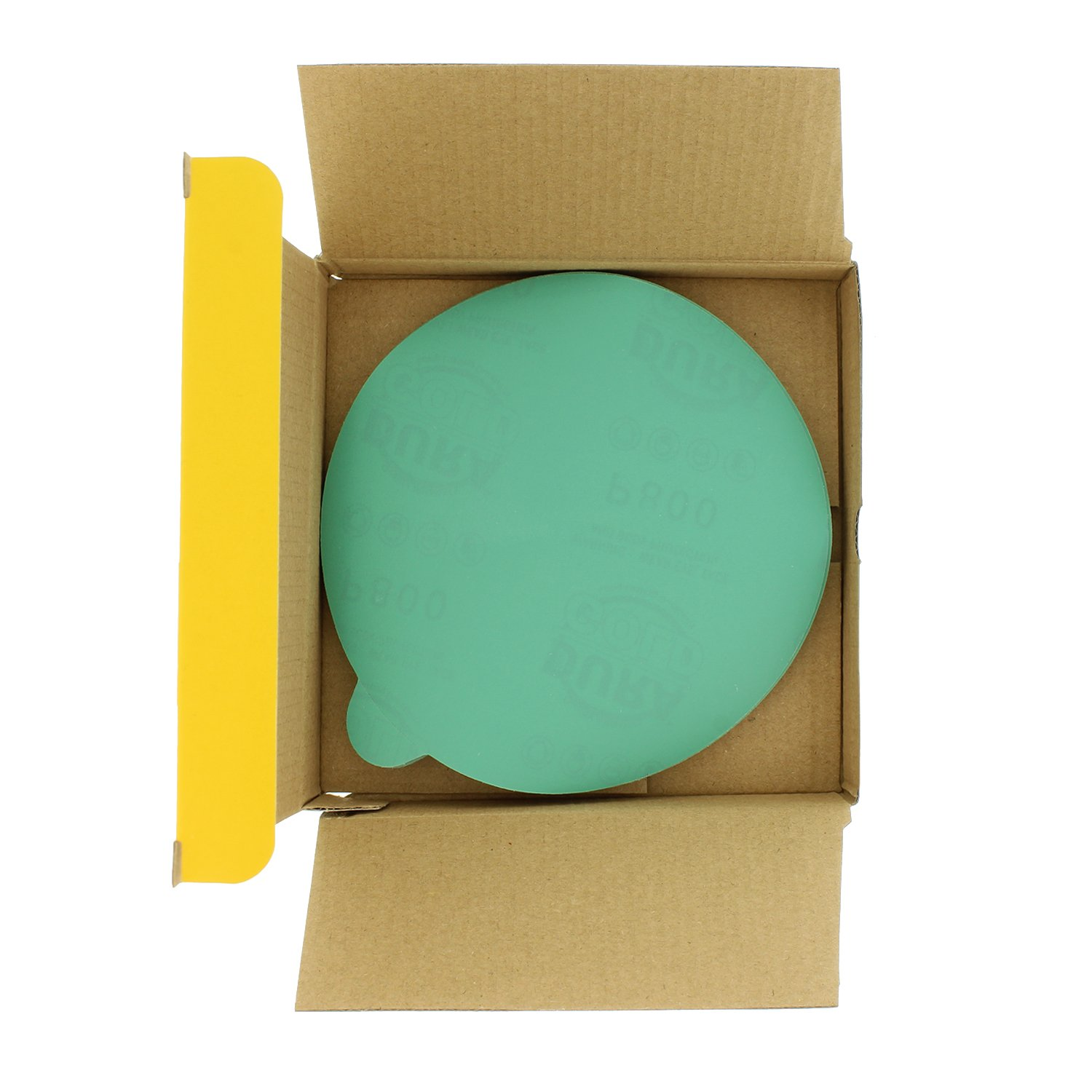 PSA Self Adhesive Stickyback Sanding Discs for DA Sanders Dura-Gold Premium Film Back Box of 25 Sandpaper Finishing Discs for Automotive and Woodworking 80 Grit 6 Green Film