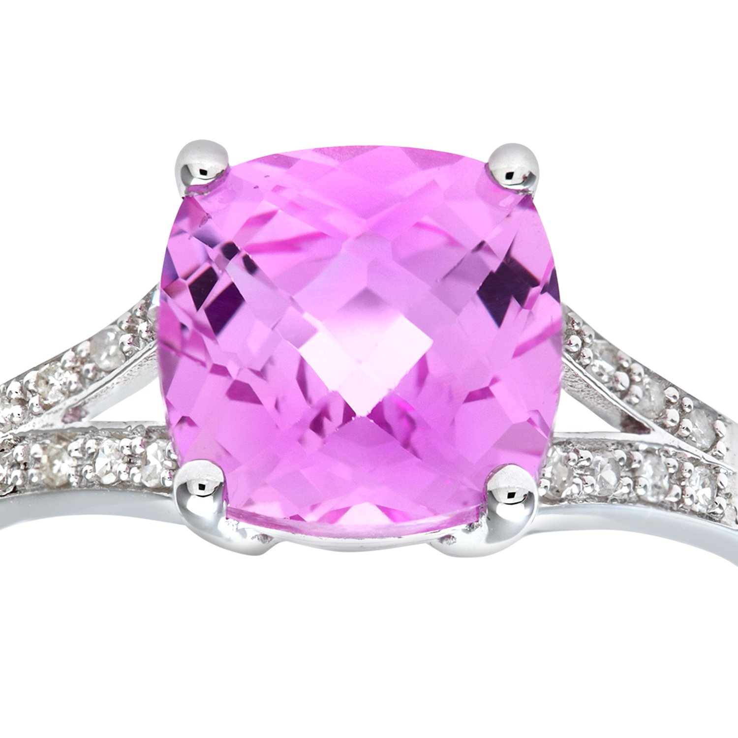 Naava Women\'s 9 ct White Gold Created Pink Sapphire Ring with ...