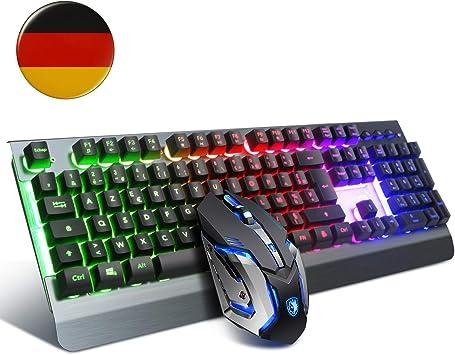 Teclado para juegos y ratón combinado, diseño DE, teclado con cable para juegos SADES para PC/Mac/Win, ratón para juegos con 6DPI y teclado USB para ...