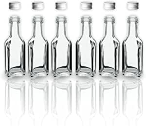 6 botellas de vidrio de 20 ml con tapón de rosca tapa/2 cl botellas vacías de vidrio para llenar/tapón de sample botellas para los aceites, whisky, ...