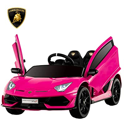 Uenjoy 12V Kids Electric Ride On Car Lamborghini Aventador SVJ Motorized Vehicles with Remote Control, Battery Powered, LED Lights, Wheels Suspension, Music, Horn,Compatible with Lamborghini,Pink: Toys & Games