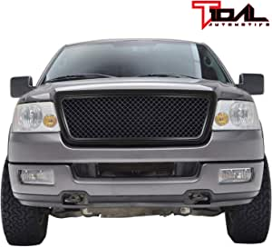 Tidal Replacement F150 Upper Grille Chrome Front Hood Full Grill With Emblem Clip for 04-08 Ford F-150