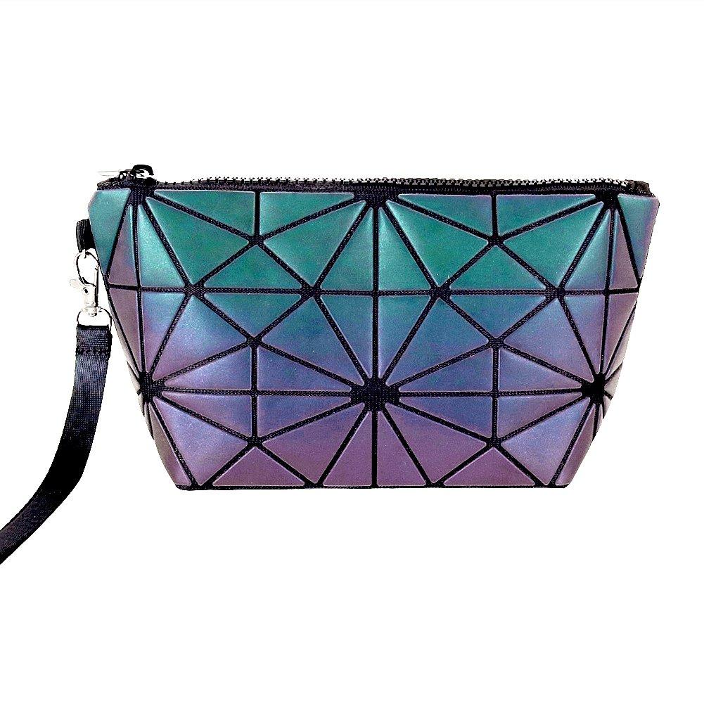 Beautier Holographic Reflective Luminous Handbag Lattice Design Geometric Bag Unique Purses Soft PU Leather Wristlet Clutch Cell Phone Purse (Normal)