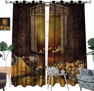 luvoluxhome Cortina Opaca para Puerta corredera de Patio para salón/Dormitorio Fantasy Mountain Cave con un Tesoro y Calaveras: Amazon.es: Hogar