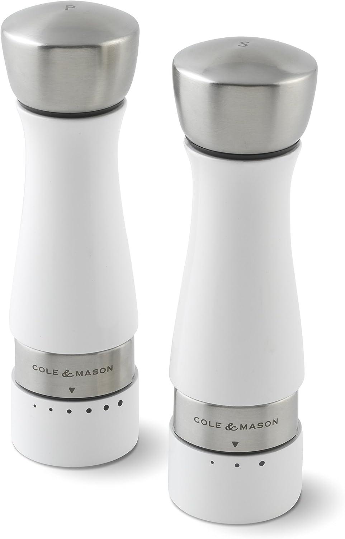 Glacier Moulin /à sel en h/être laqu/é, blanc brillant Cole /& Mason h301662g Gourmet Pr/écision Oldbury