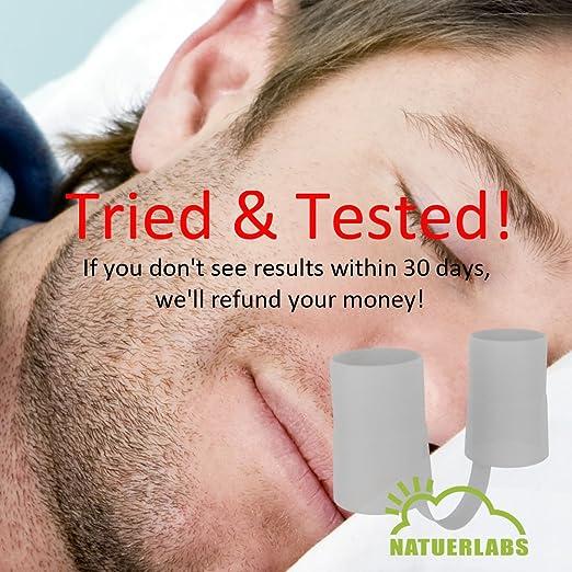 Amazon.com: Dispositivo Anti-ronquidos para UNA Buena Noche de sueño. Contiene 4 dilatadores nasales en 2 tamaños diferentes para facilitar la respiración.
