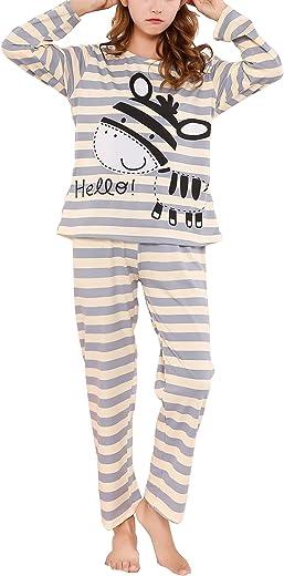 Hupohoi Big Girls Winter Long Sleeve Pajama Sets Cute Cat Patterns Sleepwear Cartoon Pjs