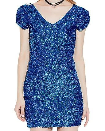 Damen V-Ausschnitt Kurze-Ärmel Pailletten Cocktail Bodycon Mini Kleid Blau  Einheitsgröße