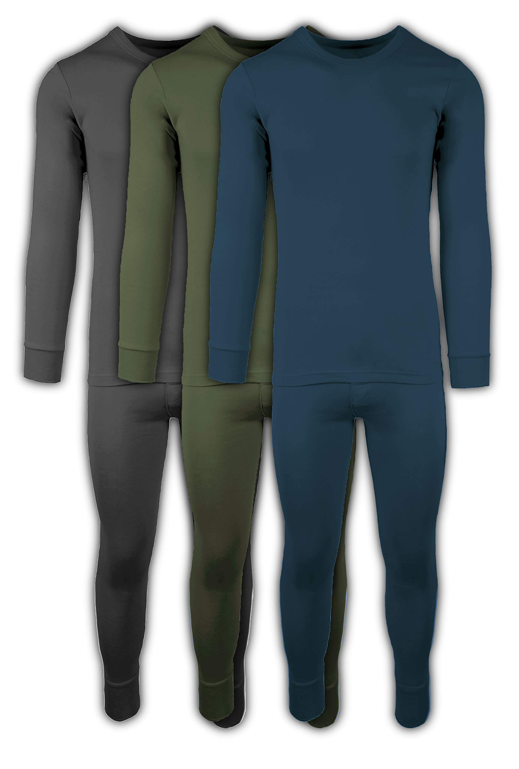 Andrew Scott Mens 2 Piece & 6 Piece Base Layer Long Sleeve + Long Pant Thermal Underwear Set (1 & 3 Pack Mix Match Options) (Large, 3 Sets / 6 Piece -Charcoal/Olive/Legion Blue) by Andrew Scott