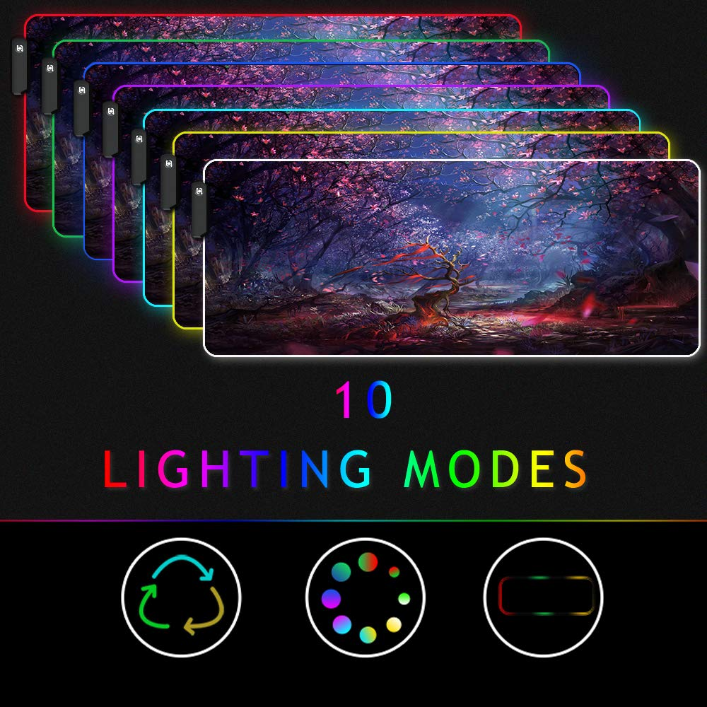 90x40 FGBlack XXXL Gaming Mouse Pad RGB Keyboard Pad Large Glowing Led 35.4x15.7IN 3MM Thick Non-slip Desk Pad