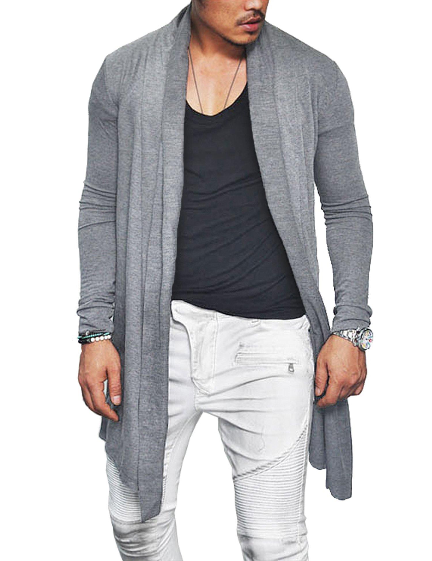 COOFANDY Men's Ruffle Shawl Collar Long Sleeves Cardigan (Medium, Grey)