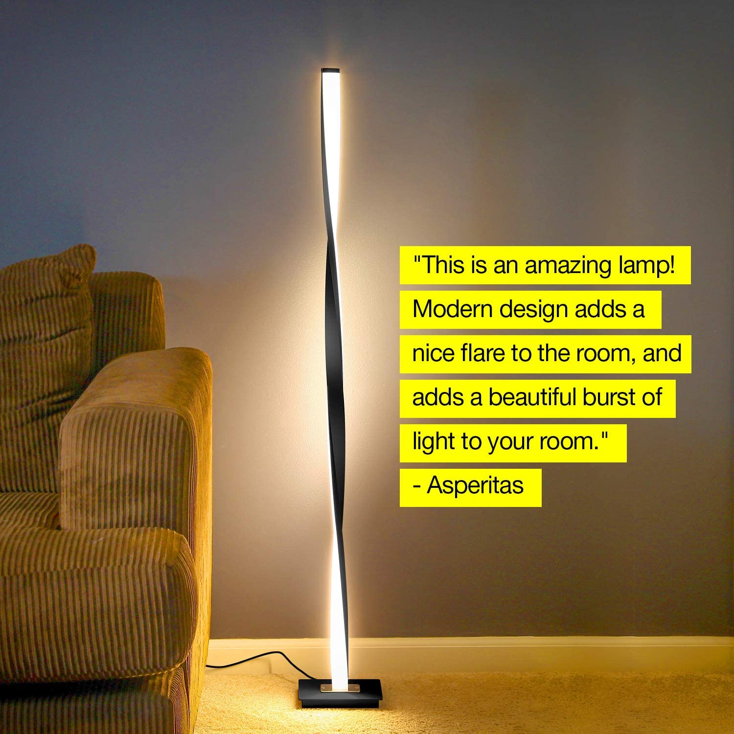 Classic Black Brightech Helix LED Floor Lamp for Living Rooms Get Compliments: Modern Standing Pole Light for Family Rooms Bedrooms /& Offices Dimmable Contemporary Lighting Bright