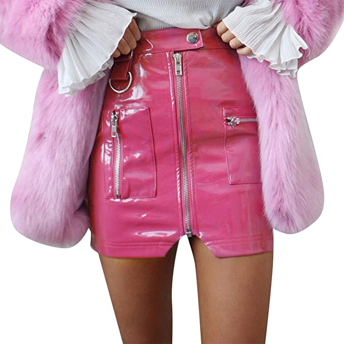 ever popular latest style new style Glamaker Women's Faux Leather Skirt High Waist Zipper Pencil ...