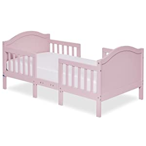 Dream On Me Portland 3 In 1 Convertible Toddler Bed in Pink, Greenguard Gold Certified