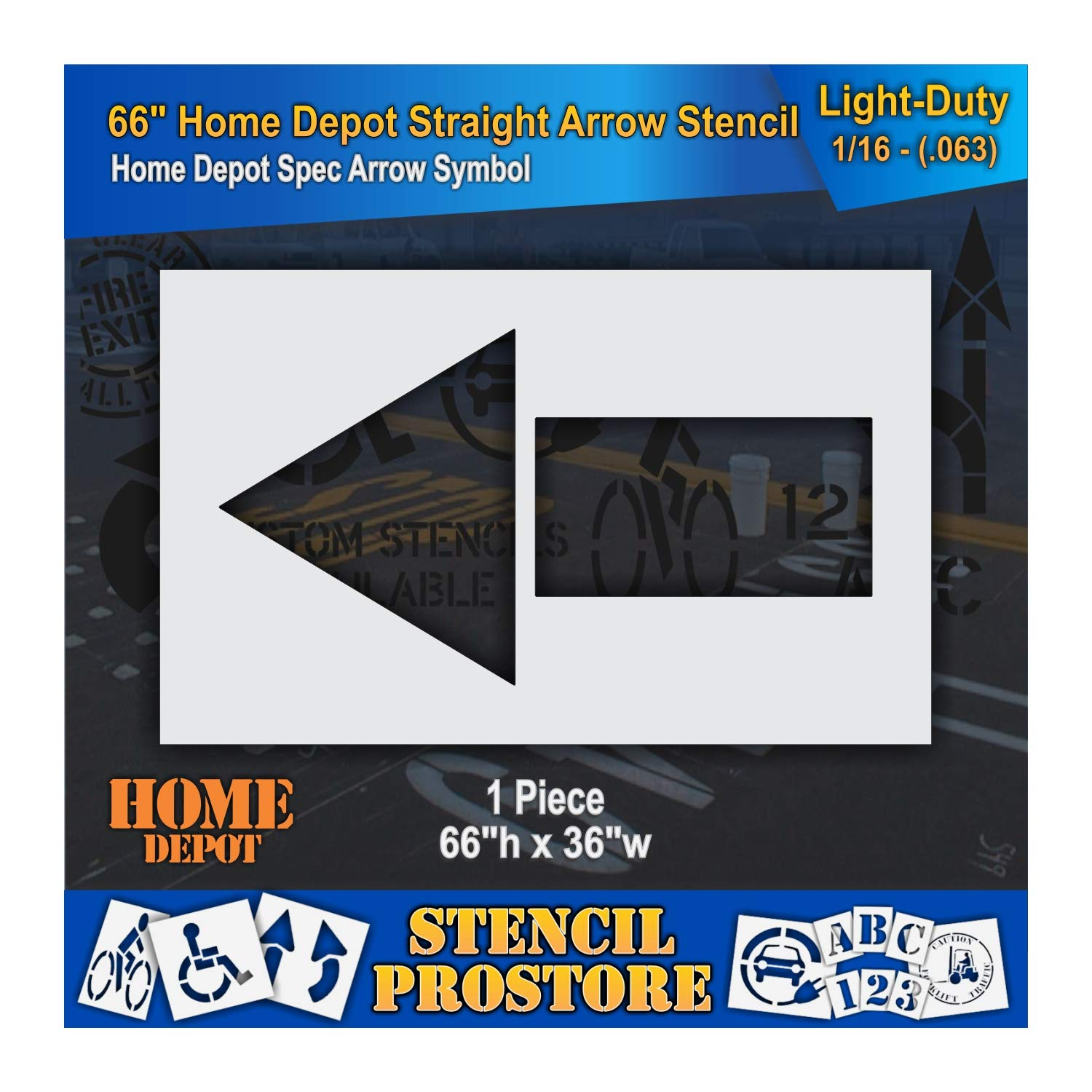 Retail Stencils - Home Depot - 66 in Straight Arrow Stencil - 66'' x 36'' x 1/16'' (63 mil) - Light-Duty