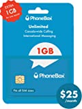 Phonebox Canadian Prepaid SIM Card | Unlimited Talk, Text, and 1GB of LTE Data. | No Credit Check, No Contracts