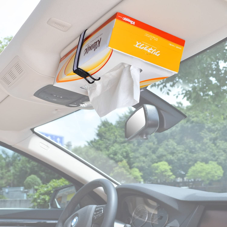 White TFY Car Visor//Headrest Strap Holder for Kleenex Facial Tissues and Other Napkin Paper Boxs