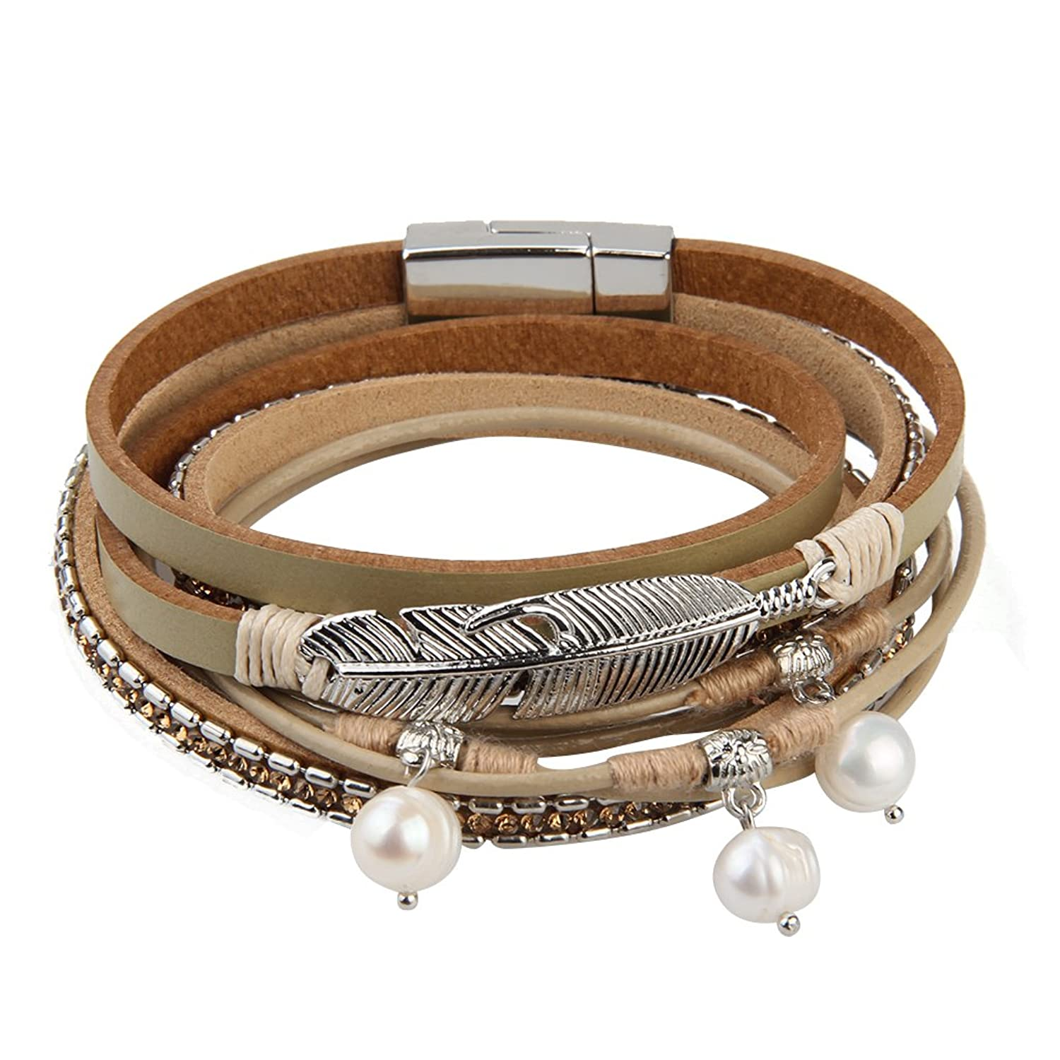 Casual Leather Bracelet For Women Pearl Feather Braided Bangle Jewelry For Valentine's Day Gift JTCmwCz