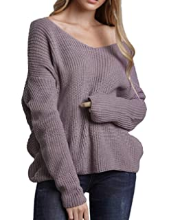 7f6d9b871e Sexyshine Women s Casual V Neck Criss Cross Backless Long Batwing Sleeve  Loose Knitted Sweater Pullovers