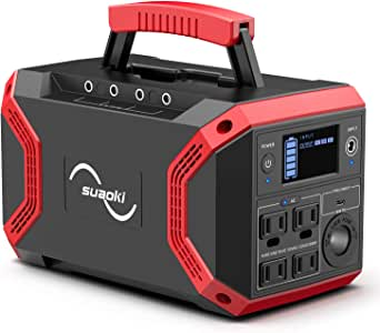 SUAOKI Portable Power Station, S370 Solar Generator 322Wh/600W Lithium Battery Pack Power Supply with QC 3.0 Outlet, 4 DC Ports, 4 USB Ports, LED Flashlights for CPAP Emergency Backup