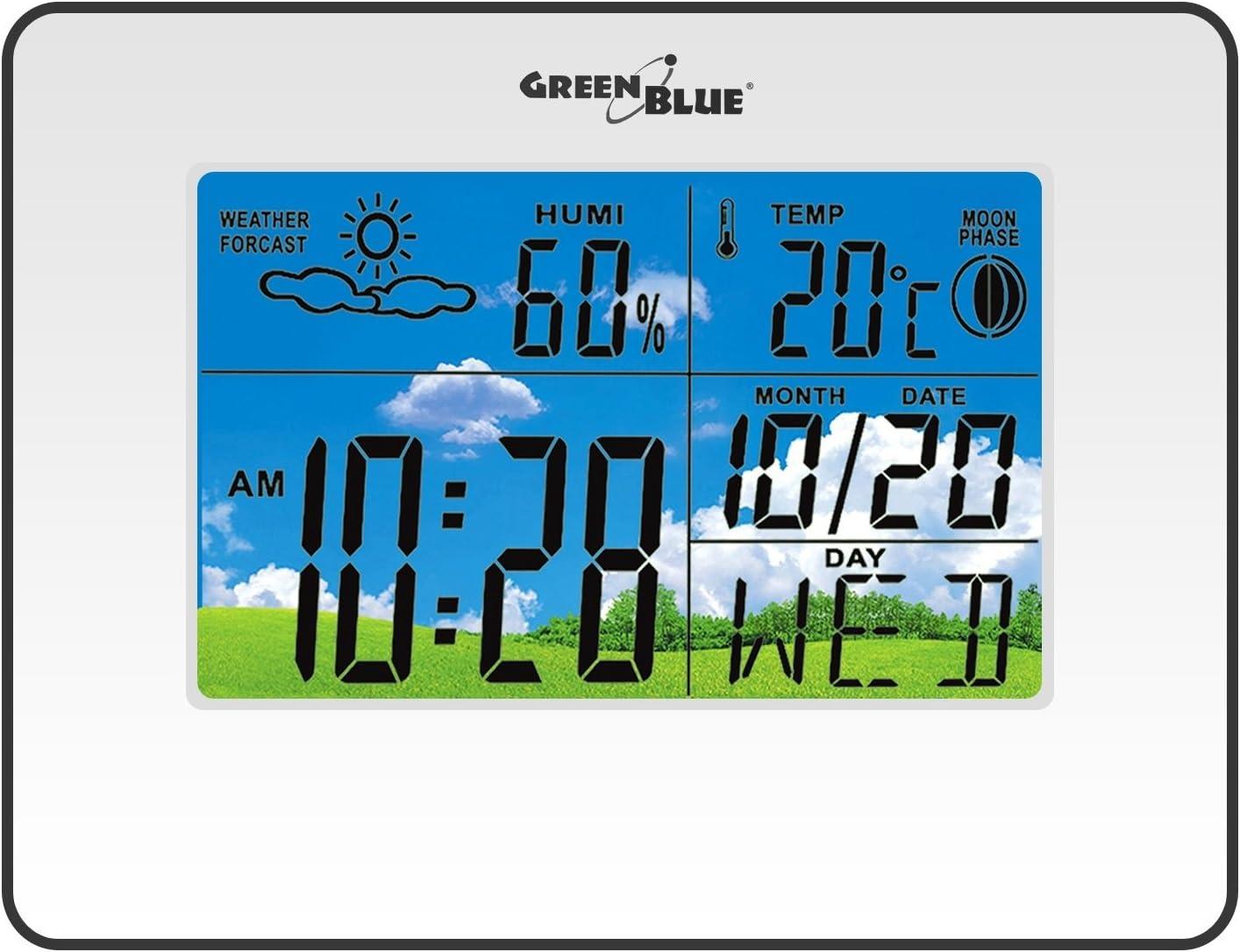 Green Blue GB148 Station m/ét/éo avec Fonction dalarme Pr/évisions m/ét/éo Date Temp/érature R/éveil Affichage de lhumidit/é Affichage de la Phase Lunaire Noir