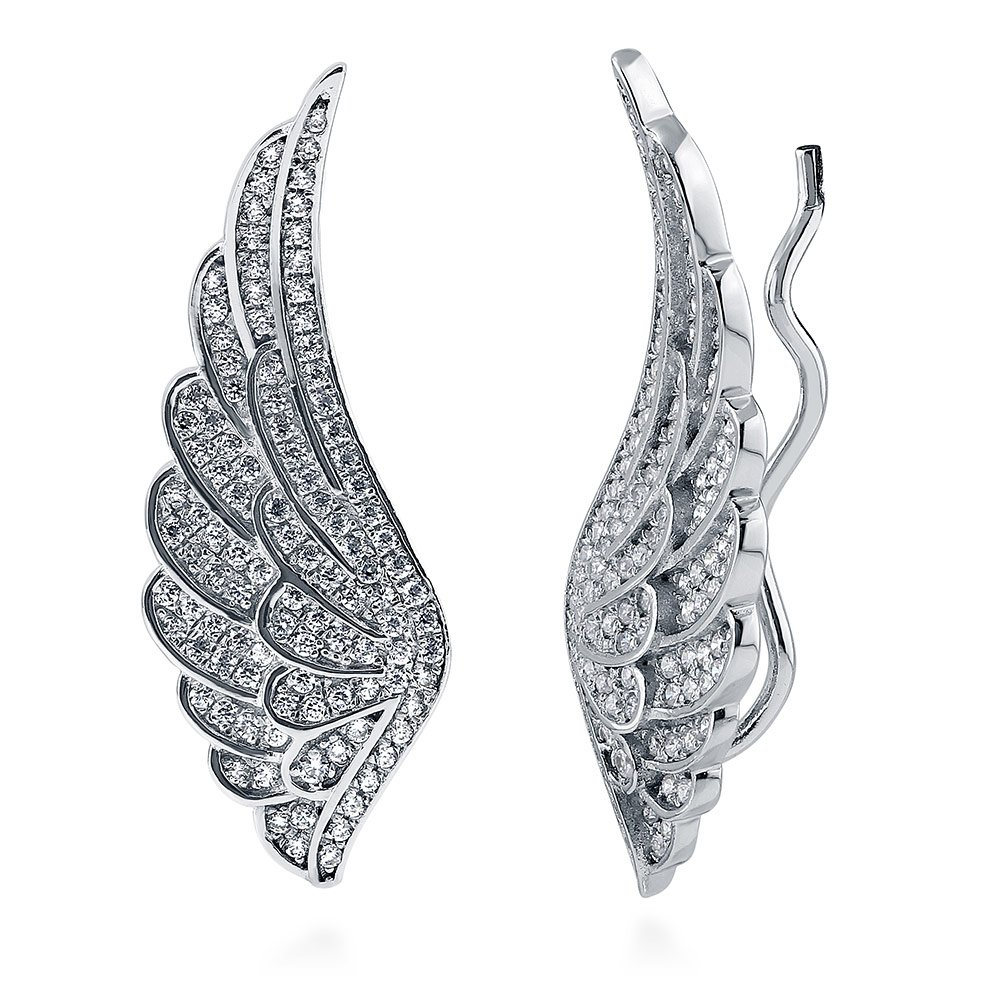 BERRICLE Rhodium Plated Sterling Silver Cubic Zirconia CZ Angel Wings Fashion Ear Crawlers
