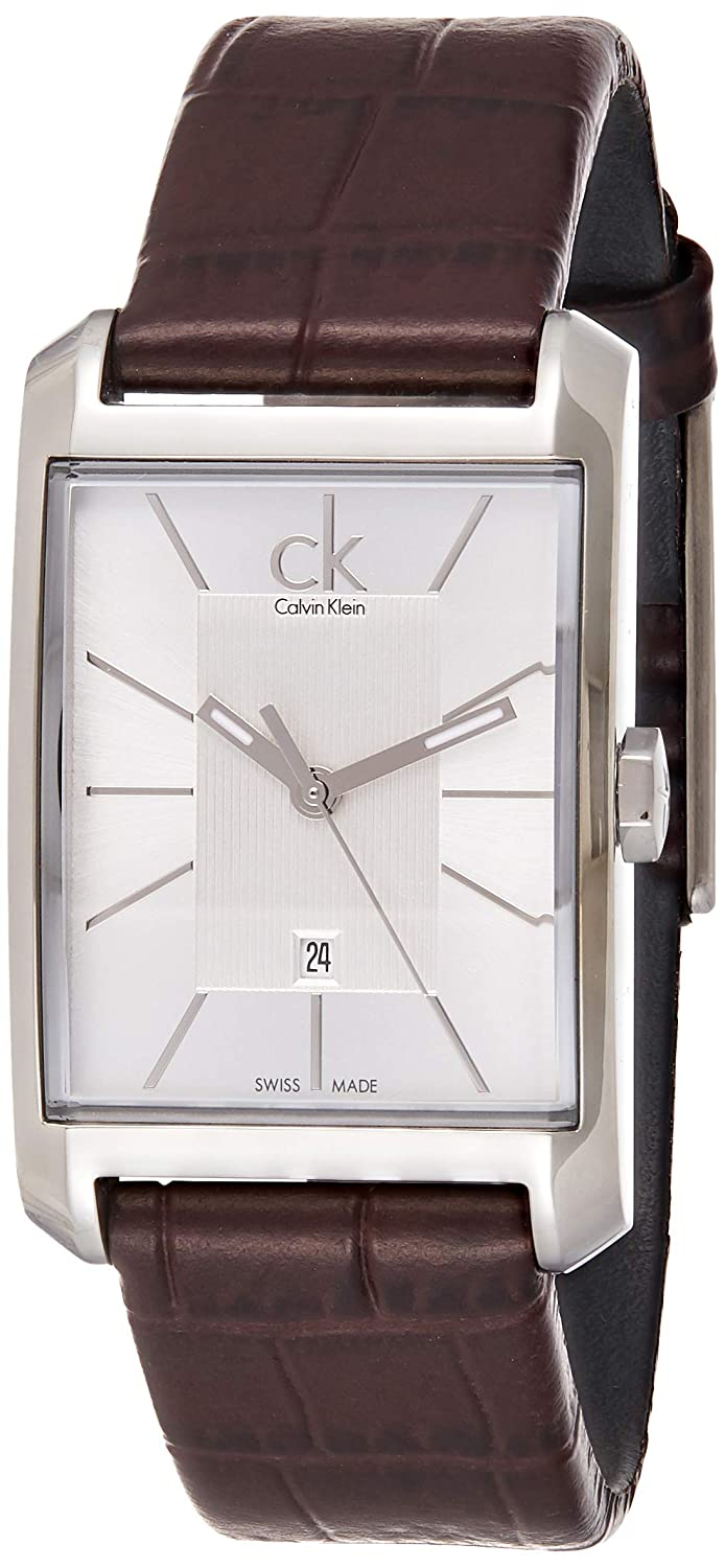 Calvin Klein Women s K2M23126 Window Stainless Steel Watch with Brown Leather Band