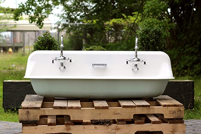 Large 48u0026quot; Antique Inspired Kohler Farm Sink Green Blue Cast Iron  Porcelain Trough Sink Package