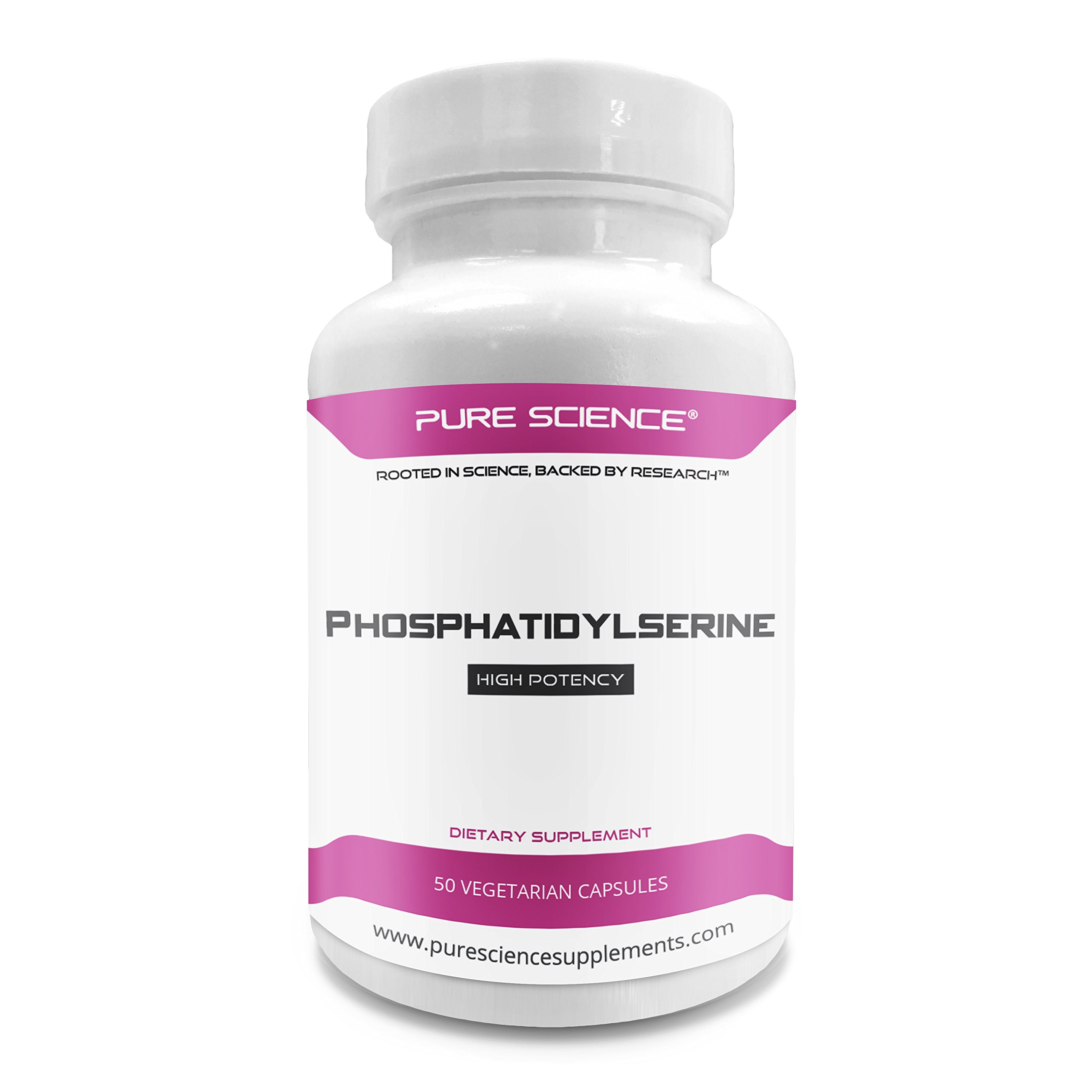 Pure Science Phosphatidylserine 100mg (From Soy Lecithin) - Essential Brain Nutrient for Improving Learning & Cognition and Reducing Cortisol - 50 Vegetarian Capsules of Phosphatidylserine Powder