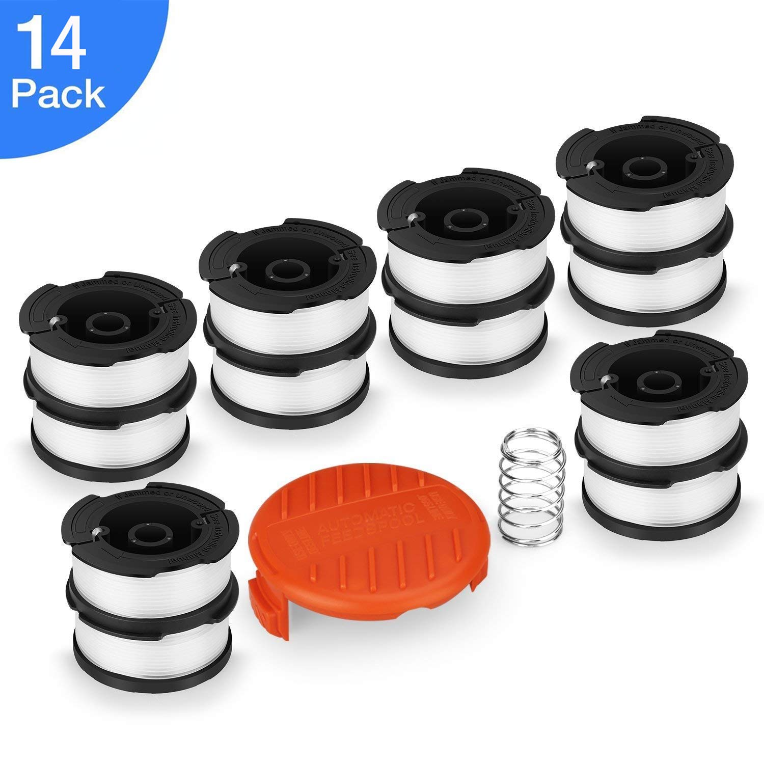 "Yoelike [14 Pack]Line String Trimmer Replacement Spool, 30ft 0.065"" Autofeed Weed Eater String, Compatible with Black+Decker String Trimmers(12 Replacement Spool, 1 Trimmer Cap, 1 Spring)"
